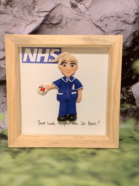 Personalised gift for Nurse/Doctor/Dentist - polymer clay figure in frame. 15cm x 15cm