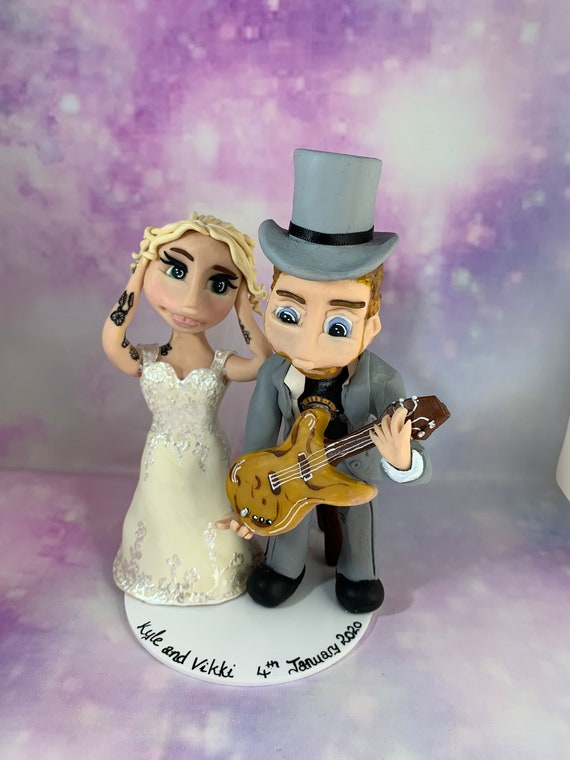 Personalised Wedding Cake Topper - bride and groom guitar / music wedding, rock and roll.