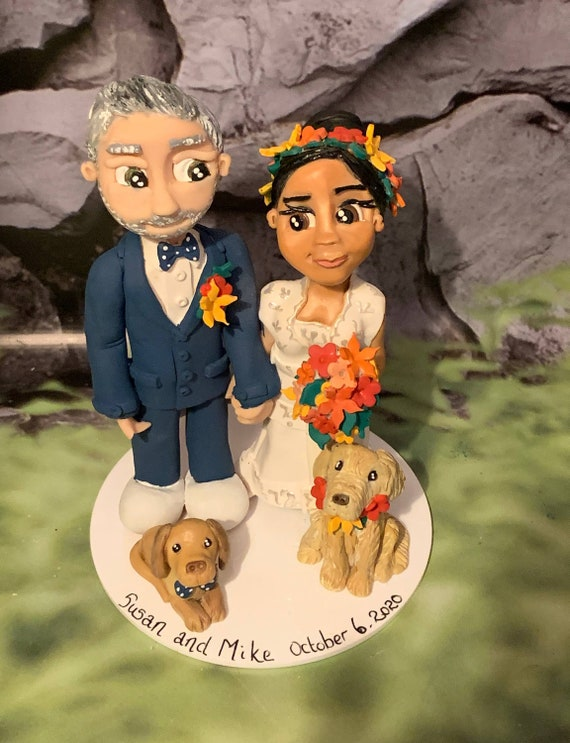 Personalised Wedding Cake Topper - Bride and Groom  Figurines - Bright Colours and Flower Crown.