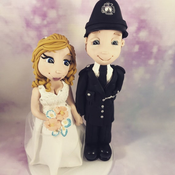 Fully personalised clay Wedding Cake Topper highly detailed and fully sculpted police bride and groom/ same sex -Keepsake.