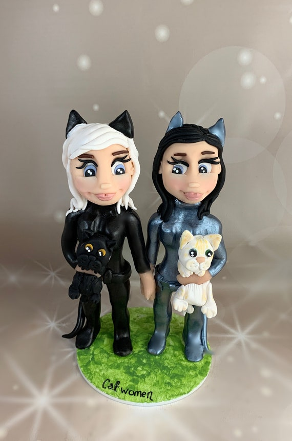 Personalised Wedding Cake Topper - catwomen/ comic book superheroes/villains bride and groom/same sex marriage