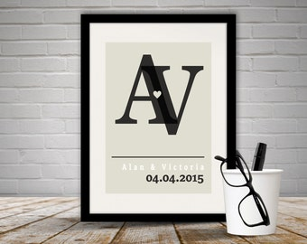 Personalised Initial's Print Unframed, Names and Date Print, Anniversary, Anniversary Gift, Wedding Gift, Wedding, Free P&P