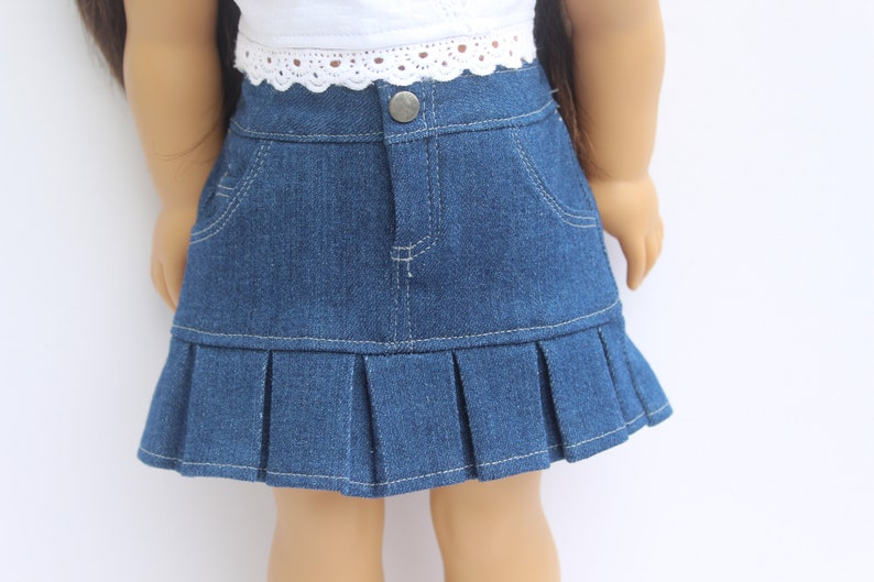 3ac36ff10 Denim jean skirt with pleat bottom for 18 inch dolls such as | Etsy