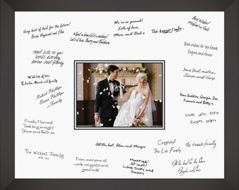 """Wedding Guest Signing Signature Frame Well Wishes Board Photo Space - Choose size 12x16"""" or Large 16x20"""", Silver, Gold, White, Black, Oak"""