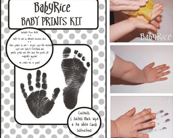 Keepsake Inkless Wipe Handprint Footprint Ink Kit Black Prints / White A4 Cards - capture your baby's tiny hands and feet prints with ease!