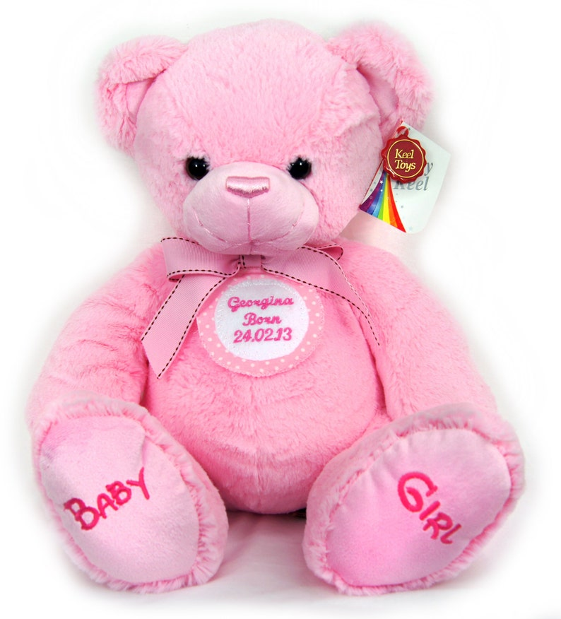 New Baby Girl Cute First 1st Teddy Bear 35cm Personalised with Name Pink and White Spotted Badge