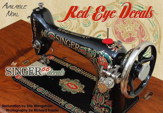 Restoration decals for antique sewing machine machine a coudre