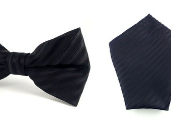 Black  Pinstripped pattern bow Tie With Pocket Square. Blue Pocket Square. Pre Tied Bow Tie. Wedding Tuxedo Bow Tie Pocket Square. Hanky