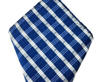 Mens Pocket Square.Navy Blue white  striped Handkerchief.Formal Suit .Pocket squares. Hanky. Tuxedo Tie Necktie Pocket Square.