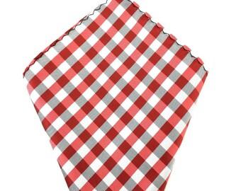 Mens Pocket Square.Red check Handkerchief.Formal Suit .Pocket squares. Hanky. Tuxedo Tie Necktie Pocket Square.