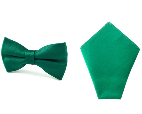 778175d4b6b8 Matching Bowtie Pocket Square Solid Green Bowties Hankies | Etsy