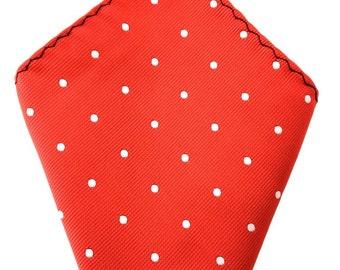 Mens Pocket Square. Red white polka dots Handkerchief.Formal Suit .Pocket squares. Hanky. Tuxedo Tie Necktie Pocket Square.
