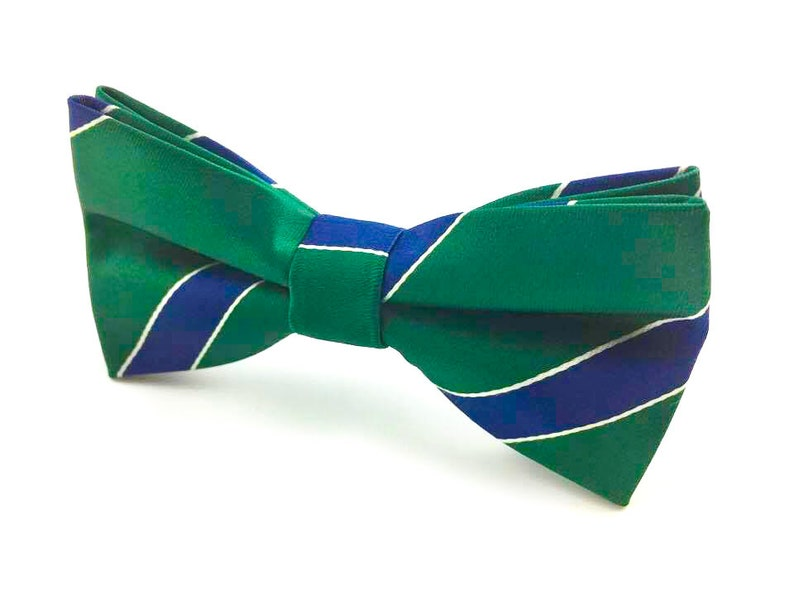 ddc682d1eabb Men's Bowtie Green Blue White Stripes Pre-tied Bow tie. | Etsy