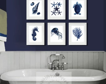 fde5fce03b5 Dark Navy Blue Beach Decor set of 6 unframed Coastal Bathroom Decor