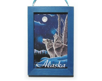 Alaska Magna-Plaque, Alaska Magnet, Wolves and Moon, Cubicle Decor, Small Gift, Housewarming Gift, Gift For Him, Gift For Her, Fridge Magnet
