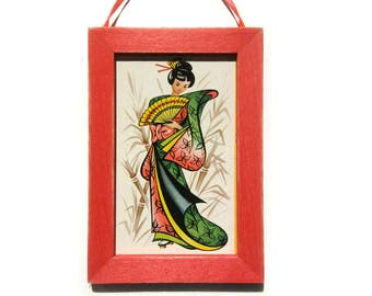 Pretty Lady Picture, Geisha Magnet, Office Gift, Housewarming Gift, Thank You Gift, Cubicle Decor, Gift For Him, Gift For Her, Fridge Magnet