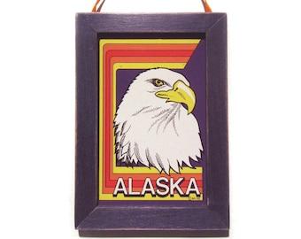 Alaska Magna-Plaque, Alaska Magnet, Bald Eagle, Cubicle Decor, Small Gift, Housewarming Gift, Gift For Him, Gift For Her, Fridge Magnet