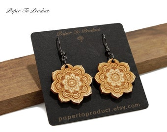 Lotus Flower Mandala Engraved Wood Earrings Custom Laser Cut