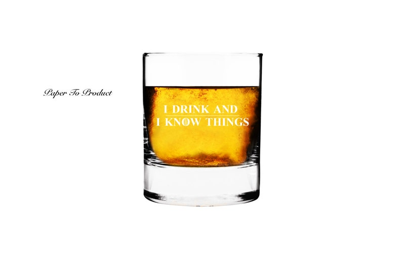 Rocks Glass Personalized Custom Engraved GOT I Drink And I image 0