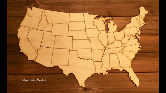 Puzzle USA United States of America Wood Map Educational HD (Small Size)