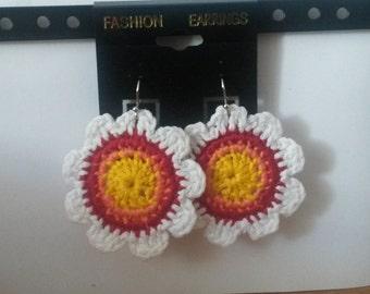 handmade crochet flower earrings