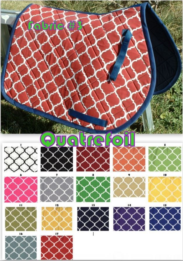 CUSTOM ORDER - Quatrefoil Saddle Pad in Many Colors