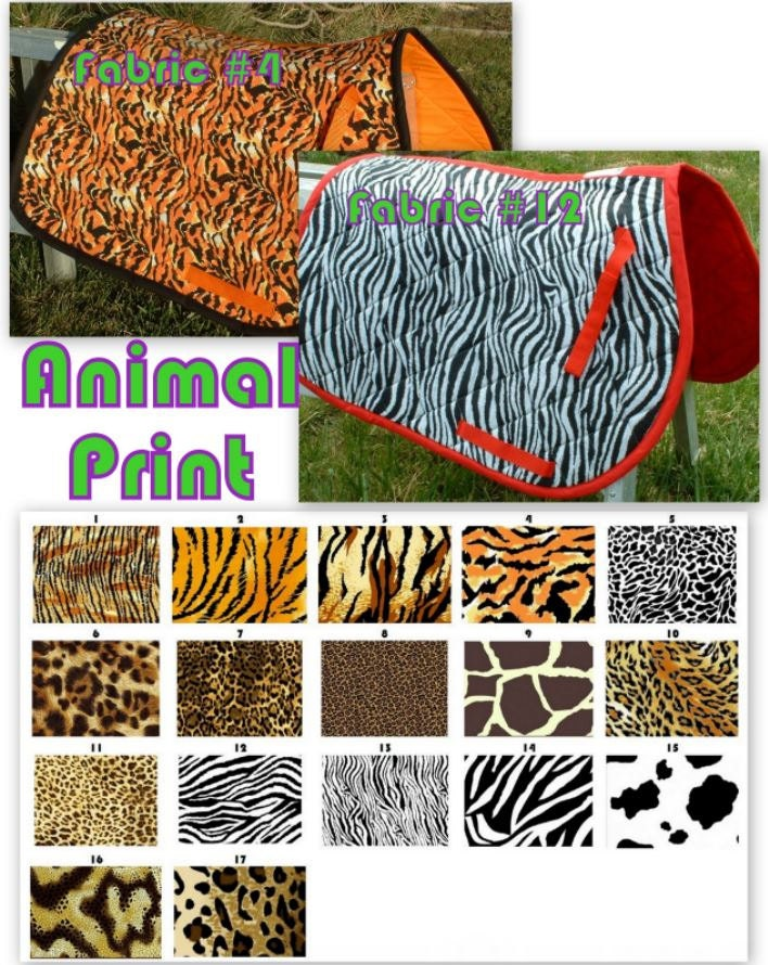 CUSTOM ORDER - Animal Print Saddle Pad in Many Colors