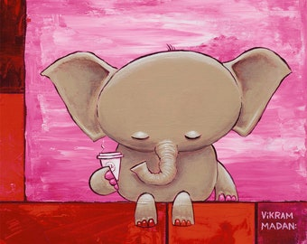 Rumination, in Red - Fun Elephant Print