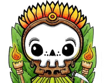 Tiki Tiki Reaper - funny Lil' Grim Reaper Print