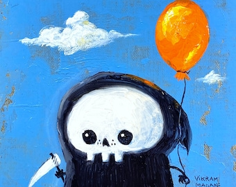 Original Painting - Lil' Reaper - 'Orange Balloon' - Oil on Linen - One of a kind - Free Shipping