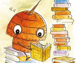 Unicorn-Robot Lover of Books - Fun Print
