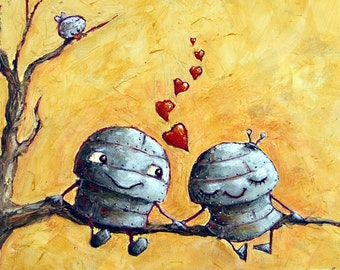 Lovebirds - Fun Love Robot Print