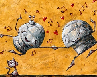 Let's Dance! - Fun Love Robot Print