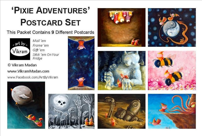 Pixie Adventures Art Card Collection  Fun Colorful Art image 0