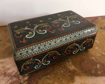 Large vintage 19th century Chinese footed cloisonné trunk box, #56