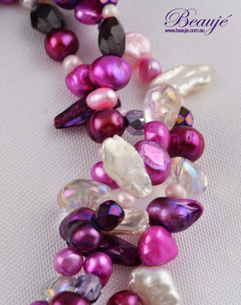 Purple necklace Pink necklace Dichroic pendant Gemstone Jewellery Semi precious Unique Beaded Necklace Glass Jewellery Handmade Beauje