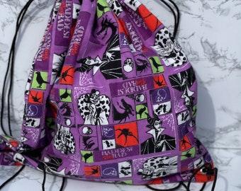 Villains drawstring bag, Halloween bag, cinch sack, Dance class bag, gym bag gift bag
