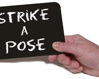 Strike a Pose - Printed Chalk Board 18.5cm  013-114