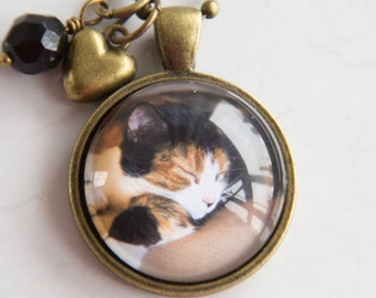 Pet Photo Necklace - Cat Dog Pendant - Cat Necklace - Dog Necklace Animal Lovers Jewelry - Pet Jewelry - Custom Photo Personalized Memory