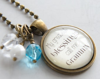 Grammy Pride Necklace - Blessed Necklace - Birthstone Jewelry - Greatest Blessings Inspirational Pendant - Text Jewelry Custom Necklace Name