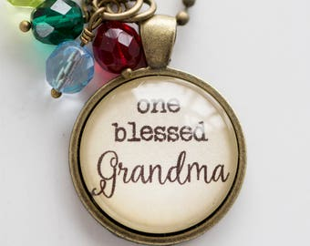 Grandma Pride Necklace - Blessed Necklace Birthstone Jewelry One Blessed Grandma Pendant Text Jewelry Custom Necklace Name Mothers Day Gift