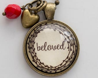 Beloved Necklace - One Little Word - Inspirational Pendant - Word Jewelry - Custom Text Jewelry Gift for Women Beloved Wedding Jewelry