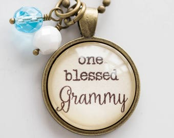 Grammy Pride Necklace - Blessed Necklace Birthstone Jewelry One Blessed Grammy Pendant Text Jewelry Custom Necklace Name Mothers Day Gift