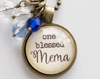 Mema Pride Necklace - Blessed Necklace Birthstone Jewelry One Blessed Mema Pendant Text Jewelry Custom Necklace Name Mothers Day Gift
