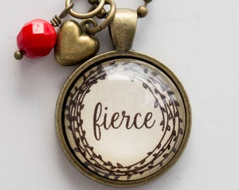 Fierce Necklace - One Little Word - Inspirational Pendant - Word Jewelry Custom Text Jewelry Gift for Women Fierce One Word New Year Jewelry