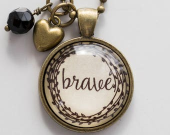 Brave Necklace - One Little Word - Inspirational Pendant - Word Jewelry - Custom Text Jewelry Gift for Women Brave Fighter Survivor Jewelry