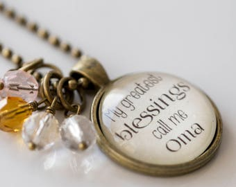 Oma Pride Necklace - Blessed Necklace - Birthstone Jewelry - Greatest Blessings Inspirational Pendant - Text Jewelry Custom Necklace Name