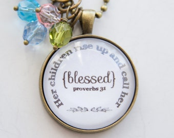 Mother's Pride Necklace - Proverbs 31 Pendant - Birthstone Jewelry -  Inspirational Pendant - Christian Jewelry - Proverbs Woman Custom Gift