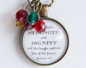 Mother's Pride Necklace - Proverbs 31 Pendant - Birthstone Jewelry -  Inspirational Pendant - Christian Jewelry Strength Dignity Woman Gift