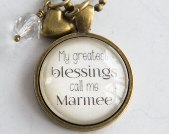 Marmee Pride Necklace - Family Jewelry - Mothers Day Gift - Text Jewelry - Personalized - Custom Necklace - Blessings - Nana - Grandma Pride